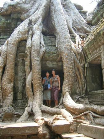 "Anna and I standing in the famous Taprohm ""tree"" Temple."